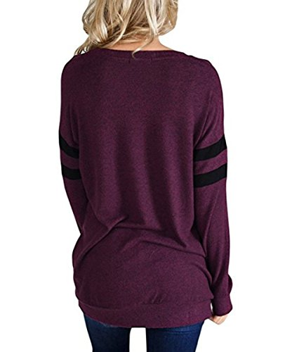 Manches T Tops Coton PENGSSTYLE Longues Violet Haut Femme Casual Fit Loose Shirt qwtqX6Tf