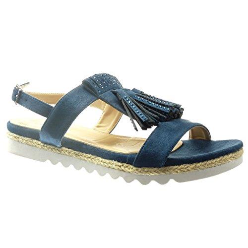 Angkorly - damen Schuhe Sandalen Espadrilles - Offen - Franse - Strass Keilabsatz 2 CM - Blau