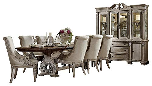 Chair Hutch Buffet - Chambord French Country 10PC Dining Set Table, 8 Chair, Buffet & Hutch in Antique White