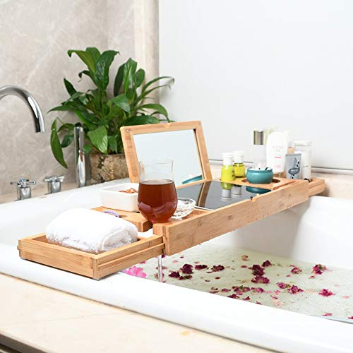 YYBFG Bamboo Over Bath Bridge Tub Caddy Tray Eco-Friendly Bathtub Tray Wine Glass Holder, Device (Tablet, Kindle, iPad,Smart Phone) Tray for a Home-Spa Experience - Fits Most Bath Sizes