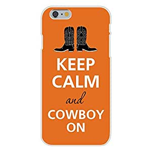 Apple iphone 4 4s Custom Case White Plastic Snap On - Keep Calm and Cowboy On Boots