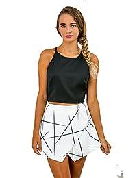 MIXMAX Women's White Tiered Shorts Skorts Skirts Casual Beach Club Pants