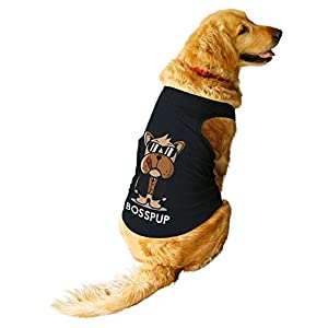 Ruse. Pet Bosspup Round Neck Sleeveless Vest Tank T-Shirt/Tees for Dog Clothes Summer Apparel.