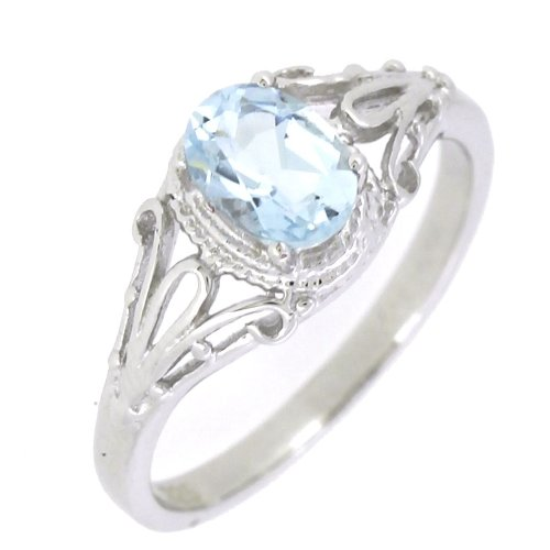 - BL Jewelry Filigree Sterling Silver Oval Cut Natural Aquamarine Ring (3/4 CT.T.W) in Vintage Style (6)