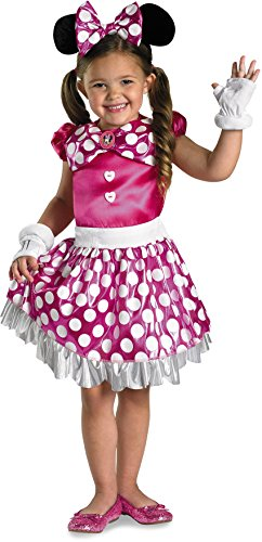 Disguise Disney Mickey Mouse Clubhouse Pink Minnie Shimmer Girls Costume, Small/4-6x (Girls Mini Mouse Costume)