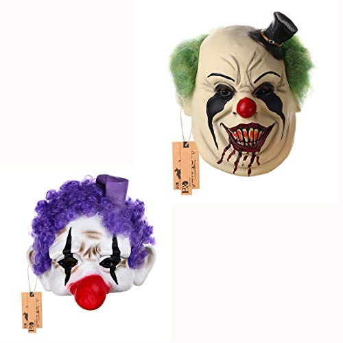2Pcs/Set Black Hat Fat Clown Mask And Purple Clown Half Mask for Adults for Halloween Party ()