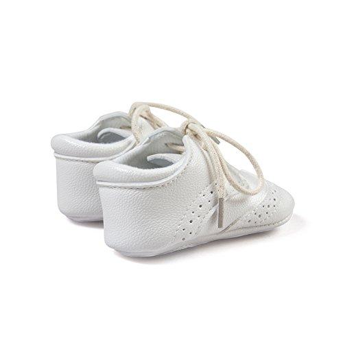 Top-Sell 1pair Zapatos De Bebé Infantiles Faux Leather Anti Slip Soft Bottom Prewalker Shoelace Blanco