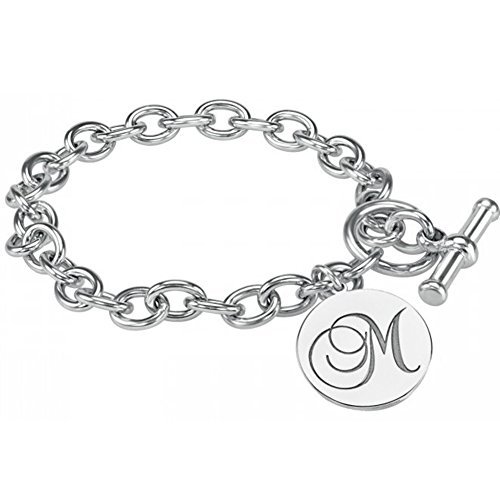 HACOOL 925 Sterling Silver Personalized Initial Monogram Link Bracelet Custom Made with Any Initial ()