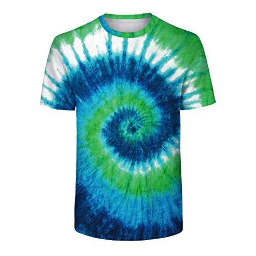 (Women Men Youth Adult Tie Dye Multi Color Family Matching T-Shirt Tops Tee Green)