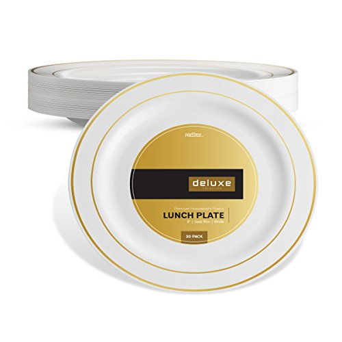 DELUXE PLASTIC PARTY DISPOSABLE PLATES | 9 Inch Hard Wedding Plates for Dinner / Lunch | White / Gold Rim, 20 Pack | Elegant & Fancy Heavy Duty Party Supplies Plates for Holidays & Occasions