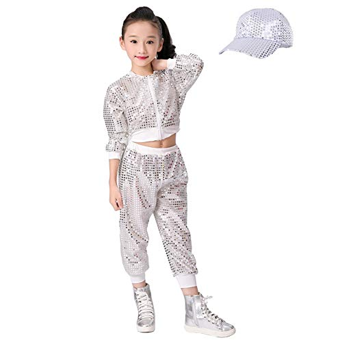 (Children Girls Sequins Hip hop Costume Street Dance Clothing Set Top+Pants+Hat White)