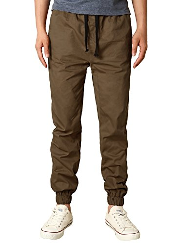 HEMOON Casual Joggers, Mens Regular Fit Twill Chino Jogger Pants Large P06-Coffee