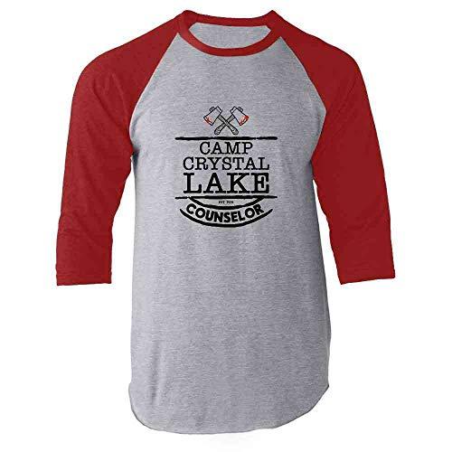 Camp Crystal Lake Counselor Costume Staff Red 2XL Raglan Baseball Tee Shirt]()