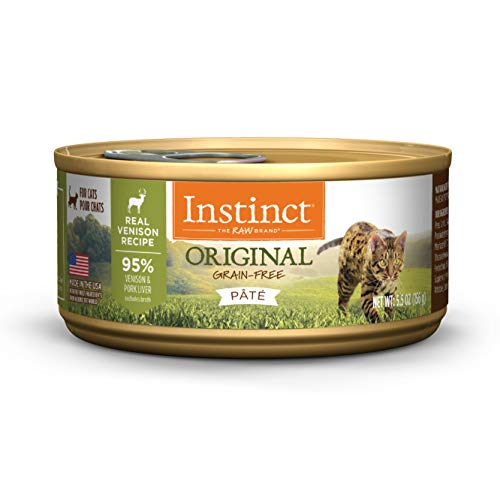(Instinct Original Grain Free Real Venison Recipe Natural Wet Canned Cat Food by Nature's Variety, 5.5 oz. Cans (Case of 12))