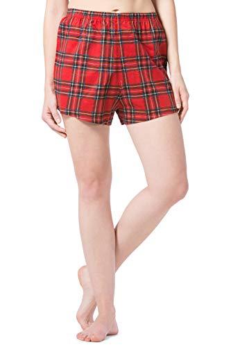 Fishers Finery Women's EcoFlannel Plaid Sleepwear Boxer; Flannel (Red, - Shorts Red Boxer Flannel