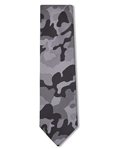 Origin Ties Men's Camo Silk Skinny Tie Grey - Necktie Camouflage