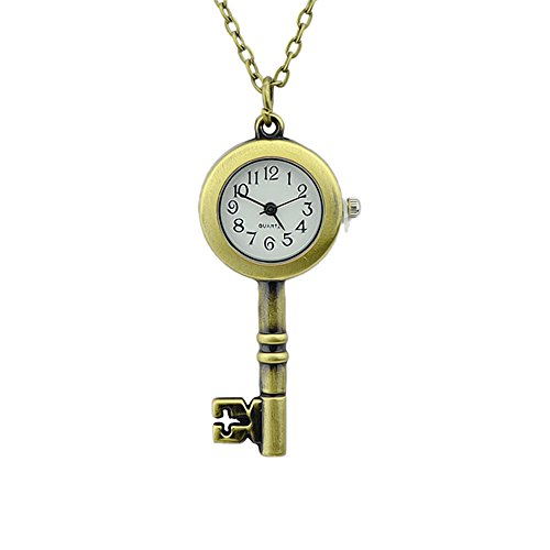 FEEL ON TOP Antique Key Fashion Alloy Pendant Watch Necklace Pocket Watch with Free Jewelry Pouch from FEEL ON TOP