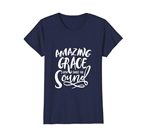 Womens Amazing Grace   Cute Modern   Trendy Gift T Shirt W000016 Xl Navy