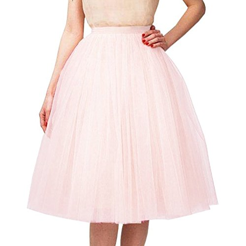 Riveroy Women's Vintage A-Line 5 Layered Petticoat Swing Tulle Tutu Skirt Blushing Pink by Riveroy