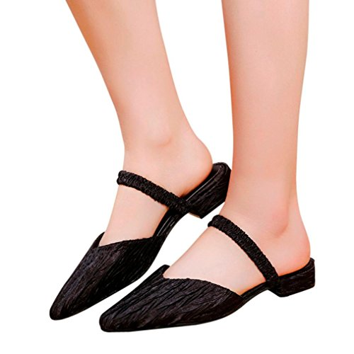 Slipper Slip Toe Pleated Casual Summer Black Pointed Skidding Anti Flat Women Vintage Women Heel Sandals Sandals On Amiley Sagq4g
