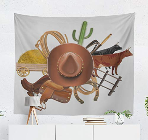 Lariat Saddle Living Room - threetothree 50x60 Inches Tapestry Wall Hanging Interior Decorative Cowboy Ranch Farm Hat Retro Western America American Brown Cactus for Bedroom Living Room Tablecloth Dorm