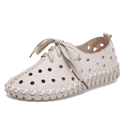 Spring Summer and Shoes Genuine Hollow Shoes Flats Shoes New Kenavinca Wome Women Genuine Lace Leather Women Leather Beige Female Casual fwdgxE