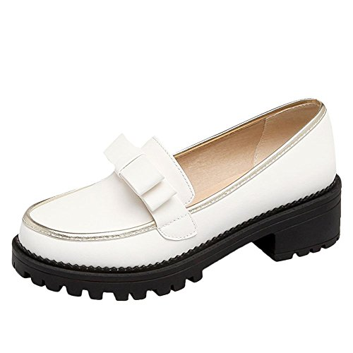 Carolbar Womens Sweet Bows Cute Lolita Penny Comfort Loafers Shoes White aNJTIYfOgq