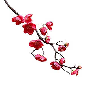 Adarl 1pc Artificial Flower Chinese Plum Blossom Silk Floral for Home Office Decor Party Festival Wedding Decoration Rose Red 14