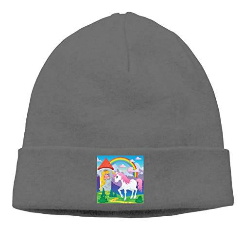 Fairy Tale Unicorn Unisex Winter Knitting Wool Warm Hat Daily Slouchy Hats Beanie Skull Cap Deep Heather ()