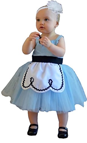 Alice Baby Costume (Cohaco Girl's Baby Alice Style Costume Light Blue Party Dress with Hair Band (2T - 3T))