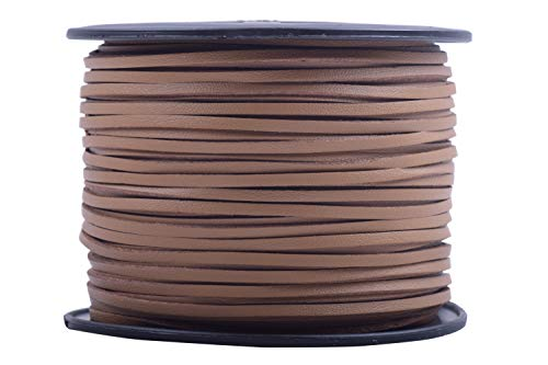 Tan Velvet Cord - KONMAY 100 Yards 2.65mm Tan Micro Fiber Lace Faux Suede Leather Cord on Rolls for Jewelry Making