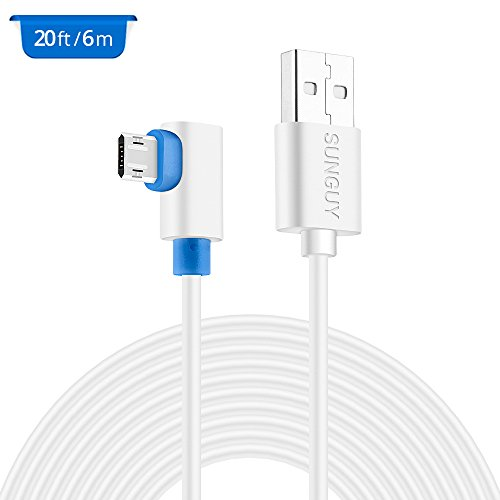 20ft usb power cable sunguy right angle usb to micro usb extension power cord for wyzecam yi
