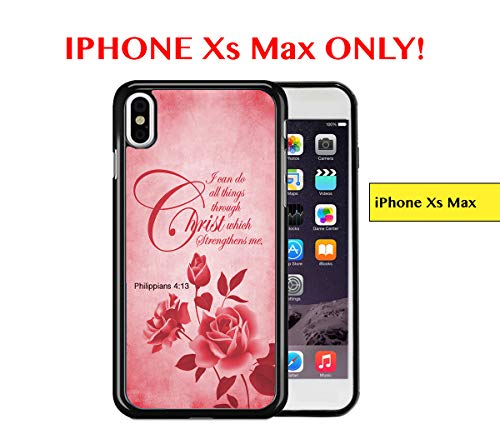 Grunge Overlays - iPhone Xs MAX - Red Color Roses Overlay Grunge Philippians 4:13 Bible Quote Religious Scripture iPhone Xs MAX Rubber TPU Silicone Phone Case
