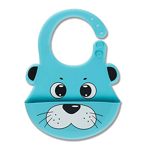 Gift Boxed Cute Silicone Baby Bib! Soft & Light Weight (Blue Dog)
