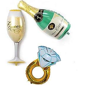 3 Unids globos XXL champagne, copa y anillo ideales para la decoracion de tu boda