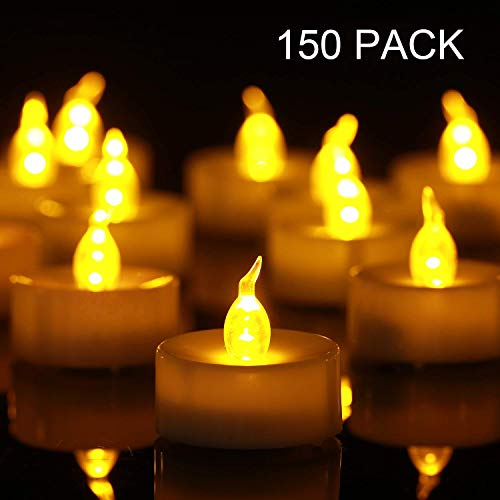 Tea Light, 150 Pack Flameless LED Tea Lights Candles Flickering Warm Yellow 100+ Hours Battery-Powered Tealight Candle. Ideal for Party, Wedding, Birthday, Gifts and Home Decoration (150 Pack)]()