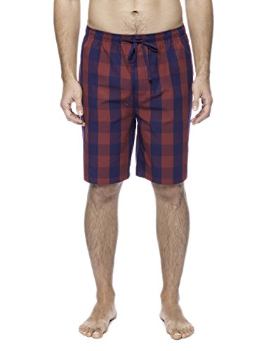 Twin Boat Men's Woven Cotton Lounge Shorts - Gingham Red/Navy - ()