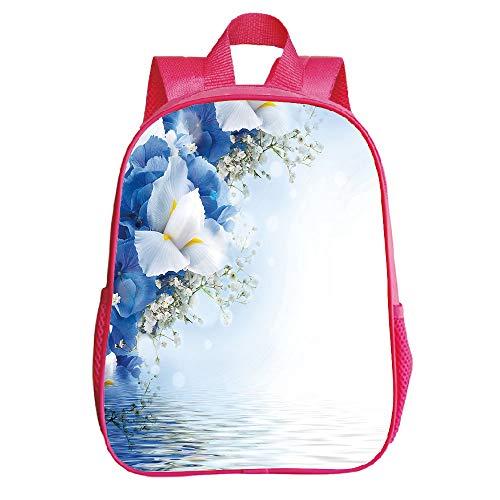 Dreamy Hydrangea (iPrint Polychromatic Optional Trumpet Red Backpack,Light Blue,Blue Hydrangeas White Irises Over The Sea Romantic Bouquet Dreamy,Blue Light Blue White Children,3D Print Design.11.8