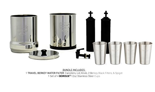 Travel Berkey Water Filter System with 2 Black Purifier Filters (1.5 Gallons) Bundled with 1-set of 4 Boroux 12 oz Stainless Steel Cups for drinking the best tasting water