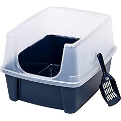Open-Top Large Pet Cat Kitty Litter Box Pan with Shield Enclosure and Scoop New