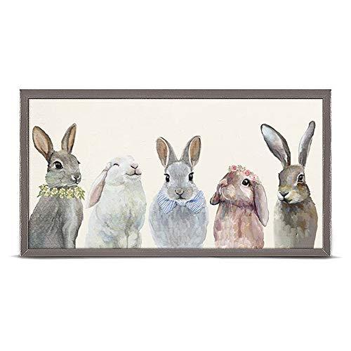 (GreenBox Art + Culture Bunny Bunch by Cathy Walters 10 x 5 Mini Framed Canvas)