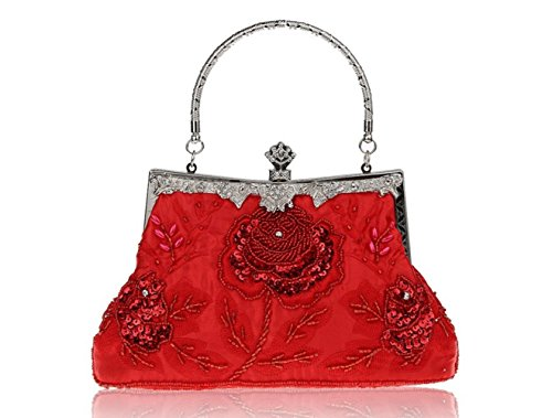 Shoulder Cross Ladies Bag Embroidery Clutch Bag Red Heavy Dress Evening Bridal Bag Chic Retro Couture Dress qTqOwrx7