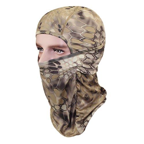 GANWAY Men Cap Tactic CS Equipment Cycling Mask Camouflage Headgear Ventilation Sunscreen Hat Ski Balaclava Face Masks (Khaki)