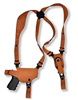 Premium Nubuck Leather Shoulder Holster with Single Magazine Carrier Fits, Glock 43 Right Hand Draw, Natural Color #1107#
