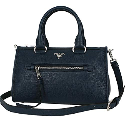 Prada Women's Navy Blue Baltico Bauletto Vitello Phenix Leather Satchel Handbag 1BB022