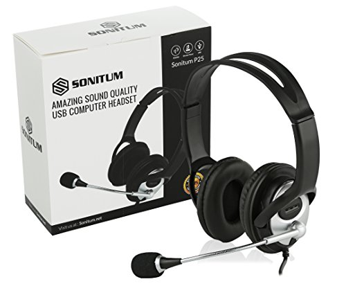 Sonitum USB Headset for Computer, Chat, Skype, Webinar, Call Center Headphone – Noise-Isolating Flexible Microphone Ear Pads – USB 6ft Cable – Easy Accessible Button Controls