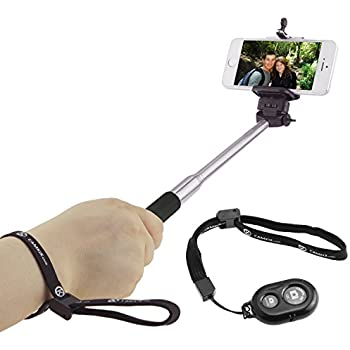 """CamKix Selfie Stick with Bluetooth Remote for Smartphones - With Universal Phone Holder up to 3.25 Inch in Width - Adjustable Handheld Monopod 11"""" - 40"""" - Light, Compact, Easy to Carry"""