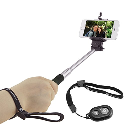 "Selfie Stick with Bluetooth Remote for Smartphones - with Universal Phone Holder up to 3.25 Inch in Width - Adjustable Handheld Monopod 11"" - 40"" - Light, Compact, Easy to Carry from CAMKIX"