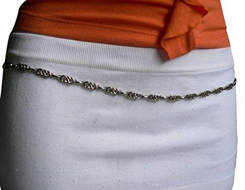 TFJ Women's Fashion Belt Hip High Waist Infinity Skinny Narrow Metal Chain S M Silver - Link Hip Belt