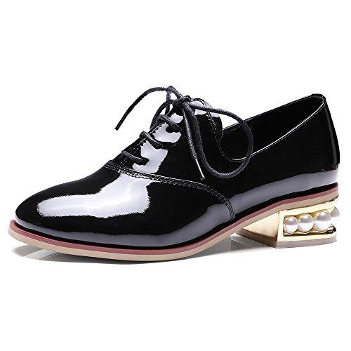 Nine Seven Cuero Puntera Redonda Zapatos de Cordones de Tacón Grueso para Mujer negro